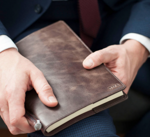 Personalised leather notebook as a corporate gift