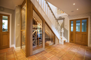Multifunctional space under stairs wine rack. Sorrells Wine Rack