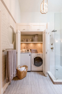Shower and laundry room